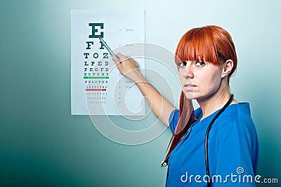 Female oculist doctor