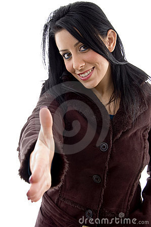Female offering handshake on white background