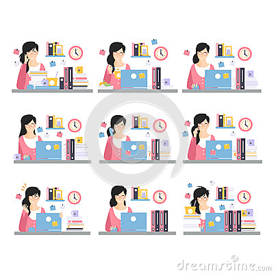 Female Office Worker Daily Work Scenes With Different Emotions, Set Of Illustrations Of Busy Day At The Office Vector Illustration