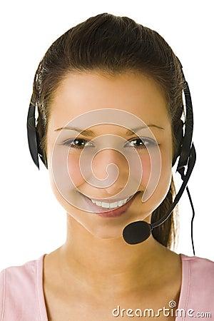 Free Female Operator With Headset Stock Photo - 4861080