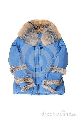 Female padded coat with genuine  fur