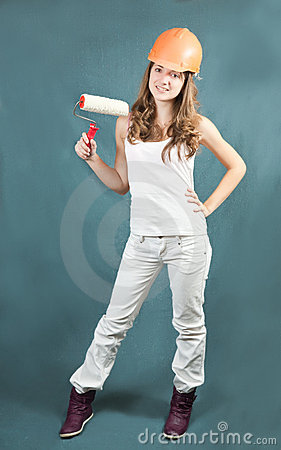 Female painters with paint rollers