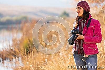 Female photographer outdoors