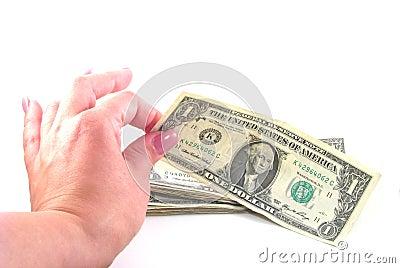 Female Picking up Dollar