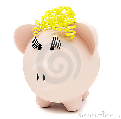 Female piggybank isolated