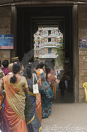 Female pilgrims in line for Shiva temple Editorial Photography