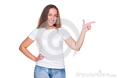 Female pointing at empty copyspace