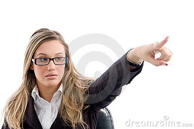 Female pointing and wearing eyewear