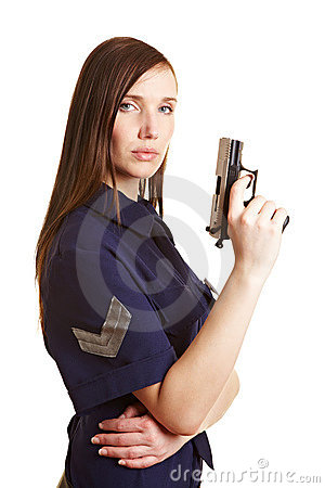 Female police officer with gun