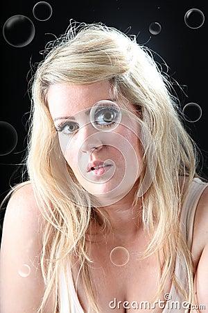 Female portrait with bubbles