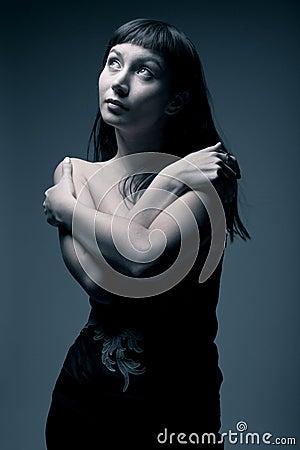 Female portrait in cold tones