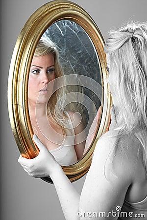 Female portrait with mirror