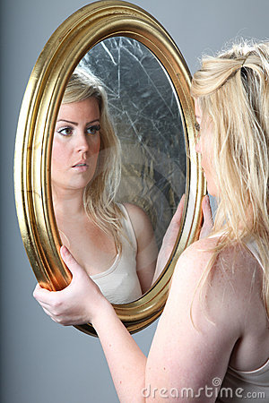 Female portrait with mirror