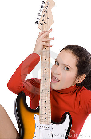 Female posing with guitar over white