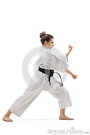 Free Female Practicing Karate Royalty Free Stock Photo - 145184765