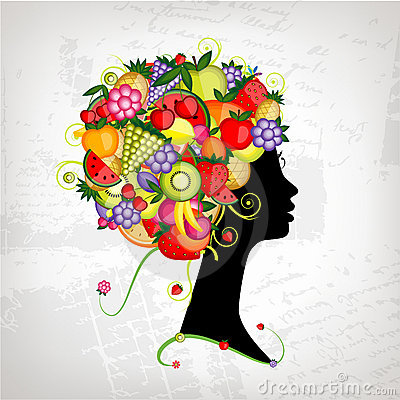 Female profile silhouette, hairstyle with fruits