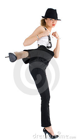 Female protecting herself with martial art sais