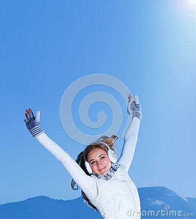 Female with raised hands