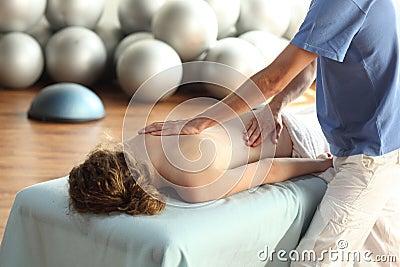 Female receiving back massage