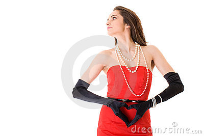 Female in red dress with heart shaped hands