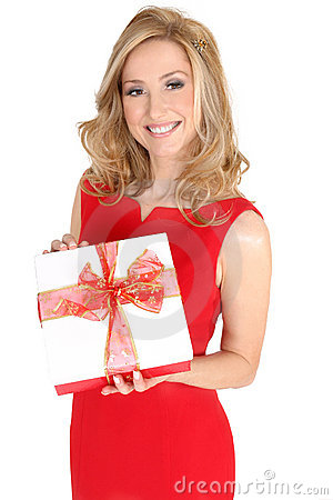 Female in red dress holding a present