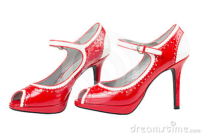 Female red high heel shoe
