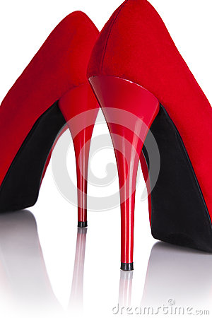 Female red high-heeled shoes.