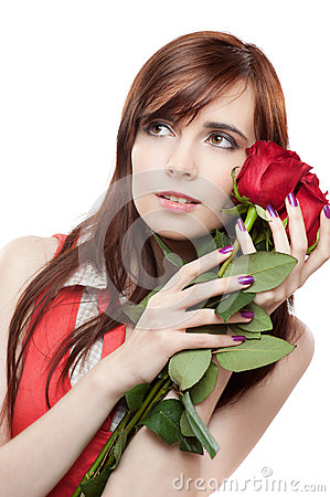 Female with red roses on white background