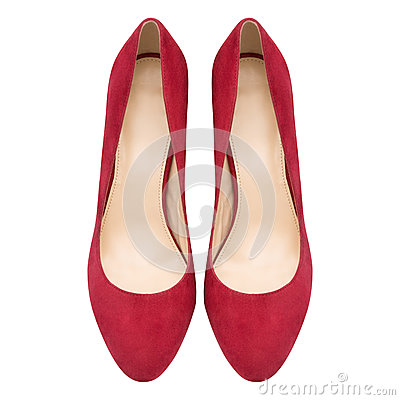 Free Female Red Suede Shoes Stock Images - 93232714
