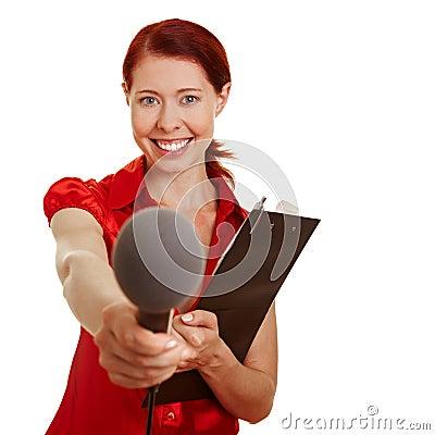 Female reporter doing a survey
