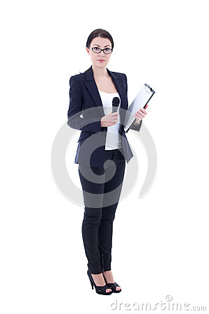 Female reporter with microphone and clipboard isolated on white