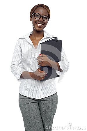 Female representative posing with file folder