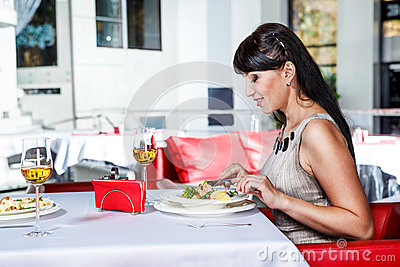 Female at the restaurant