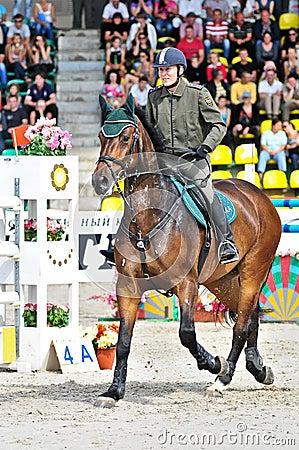 Female rider on jump horse Editorial Stock Photo