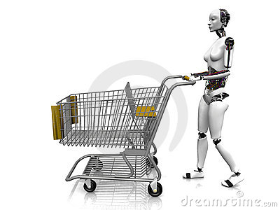 Female robot with shopping cart.