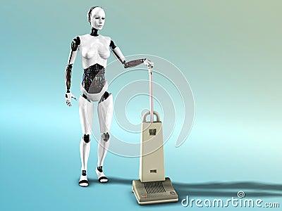 Female robot vacuum cleaning.