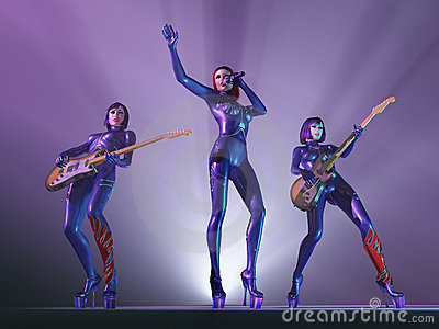 Female rock band in concert
