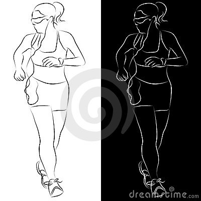 Female Runner Line Drawing