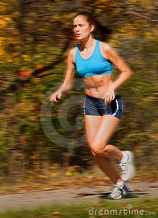 Female runner in motion
