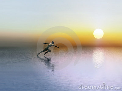 A female runner in the rising sun