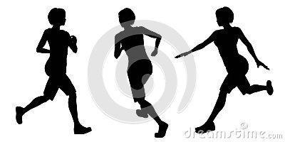 Female Runner Silhouettes - 1