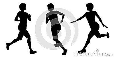 Female Runner Silhouettes - 1