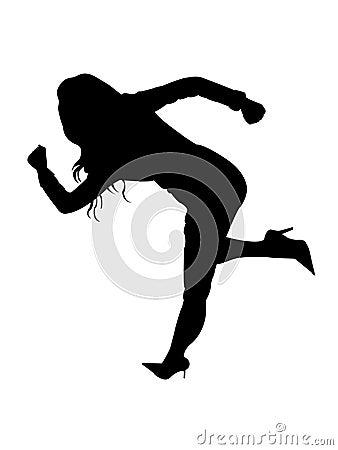 Female in running posture