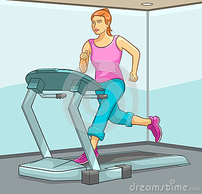 Female Running on Treadmill