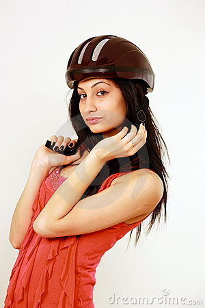 Female in safety helmet