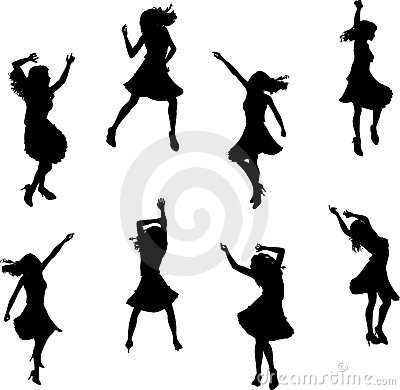 Female Salsa Dancer Silhouettes