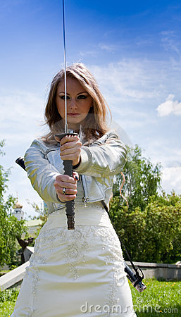 Female with samurai sword