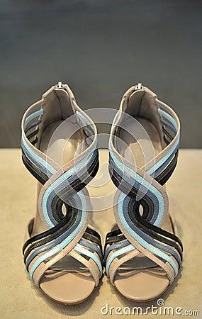 Female sandals cream and blue
