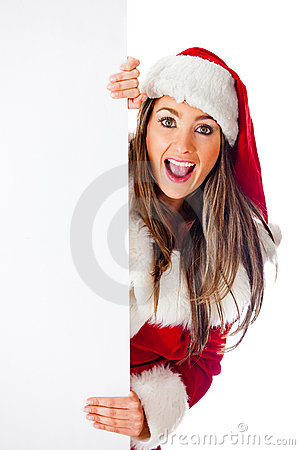 Female Santa with a banner