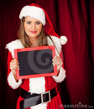 Female Santa with a blackboard